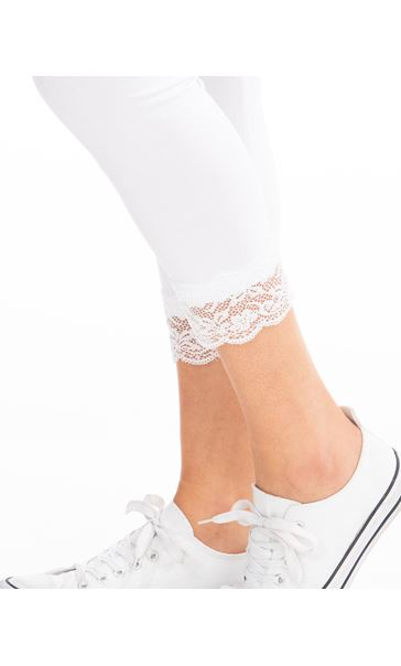 Cropped Lace Trim Leggings White - Gallery Image 3