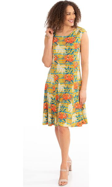 Panelled Floral Print Dress Pear/Sea Blue/Orange