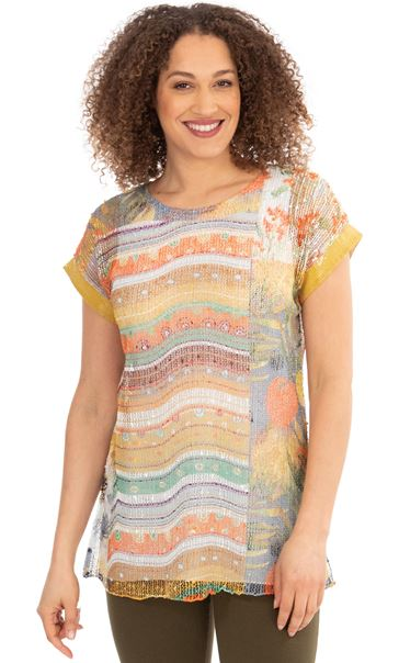 Printed Layered Knit Short Sleeve Top Pear/Sea Blue/Orange