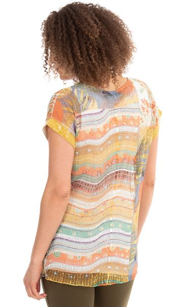 Printed Layered Knit Short Sleeve Top Pear/Sea Blue/Orange - Gallery Image 2
