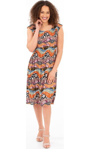 Pleated Print Round Neck Dress