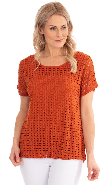 Layered Short Sleeve Top Rust