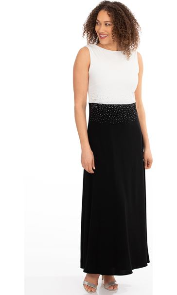 Colour Block Diamante Maxi Dress Black/Ivory