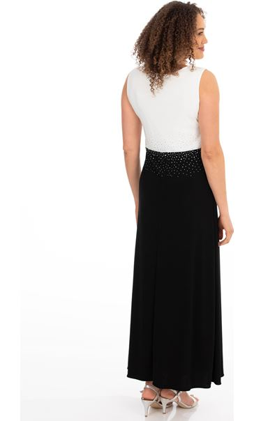 Colour Block Diamante Maxi Dress Black/Ivory - Gallery Image 2