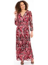 Printed Long Sleeve Pleated Maxi Dress