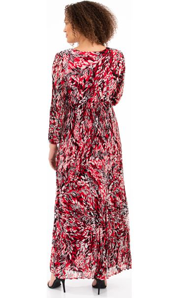Printed Long Sleeve Pleated Maxi Dress Red - Gallery Image 2
