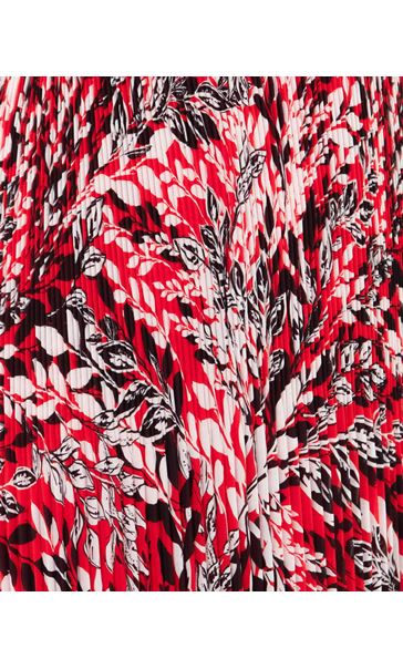 Printed Long Sleeve Pleated Maxi Dress Red - Gallery Image 3