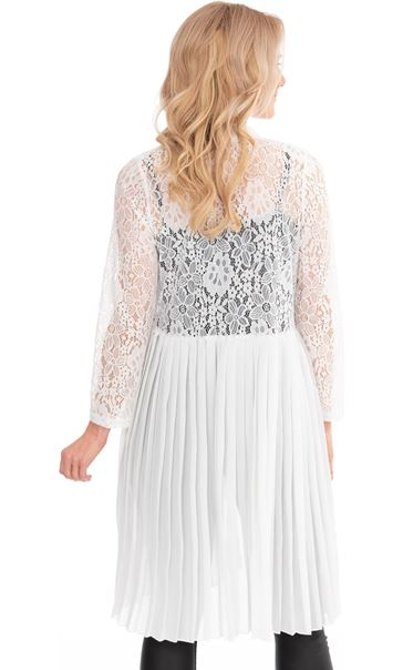 Pleat And Lace Longline Cover Up Ivory - Gallery Image 2