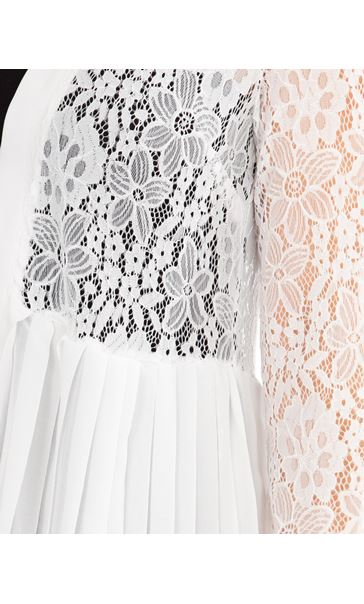 Pleat And Lace Longline Cover Up Ivory - Gallery Image 3
