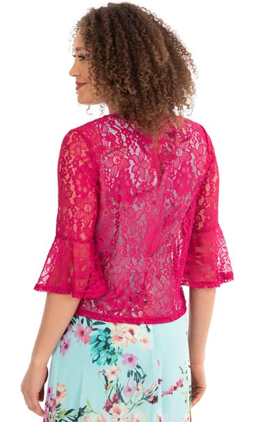 Three Quarter Sleeve Lace Cover Up - Pink