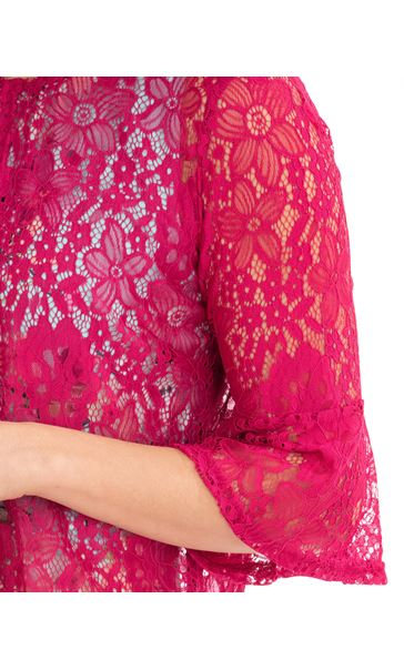Three Quarter Sleeve Lace Cover Up Pink - Gallery Image 3