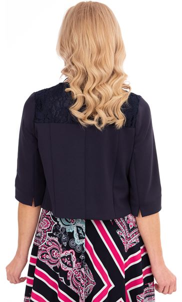 Lace Trim Scuba Jacket Blue - Gallery Image 2
