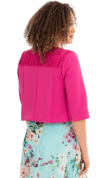 Lace Trim Scuba Jacket Red - Gallery Image 2
