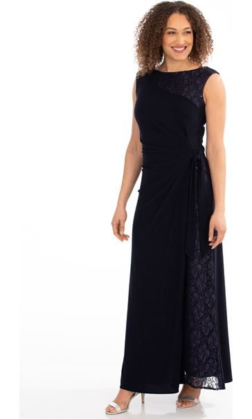 Lace Panelled Sleeveless Maxi Dress Midnight - Gallery Image 1