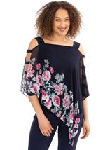 Cold Shoulder Embellished Chiffon Layer Top