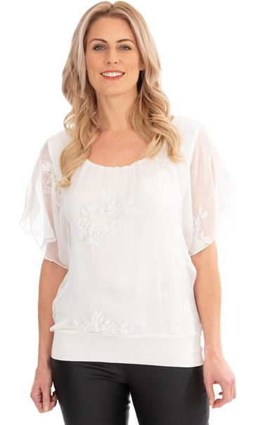 Embroidered Chiffon Layer Short Sleeve Top Ivory