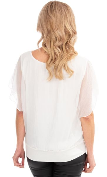 Embroidered Chiffon Layer Short Sleeve Top Ivory - Gallery Image 2