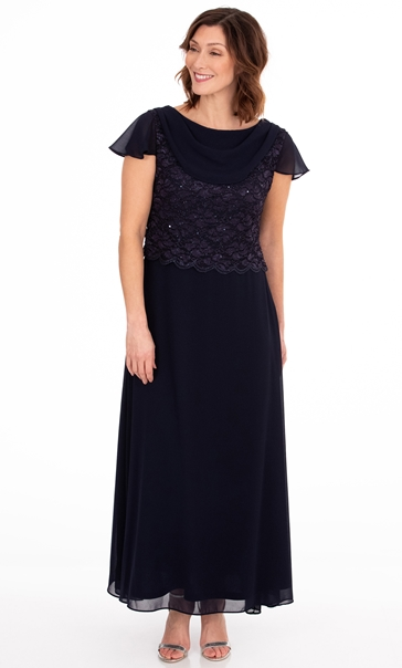 Lace And Chiffon Short Sleeve Maxi Dress Midnight
