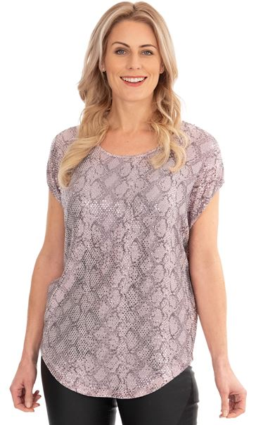 Short Sleeve Loose Fit Shimmer Top Pink - Gallery Image 1