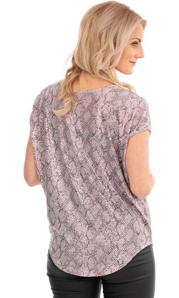 Short Sleeve Loose Fit Shimmer Top Pink - Gallery Image 2