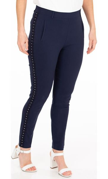 Embellished Slim Leg Stretch Trousers - Midnight