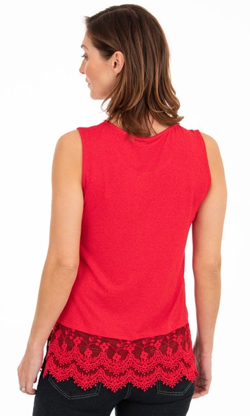 Lace Trim Sleeveless Jersey Top Red - Gallery Image 2