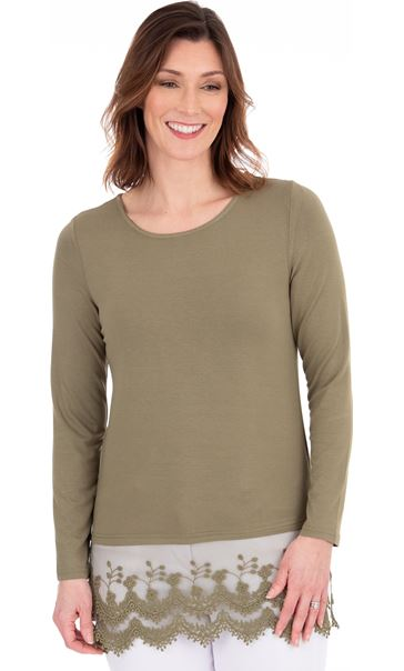 Longline Long Sleeve Lace Trim Jersey Top - Khaki