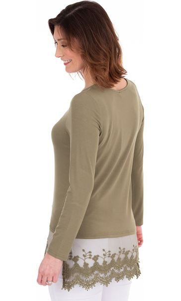 Longline Long Sleeve Lace Trim Jersey Top Khaki - Gallery Image 2