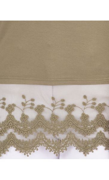 Longline Long Sleeve Lace Trim Jersey Top Khaki - Gallery Image 3