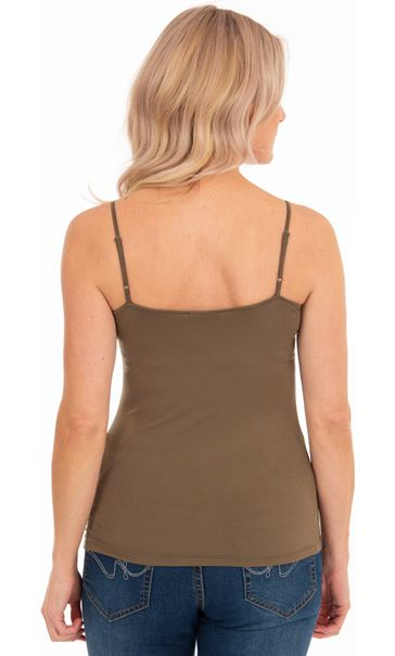 Adjustable Strappy Jersey Cami Top - Light Brown