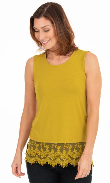 Lace Trim Sleeveless Jersey Top Golden Olive