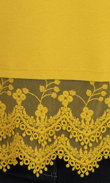 Lace Trim Sleeveless Jersey Top Golden Olive - Gallery Image 3