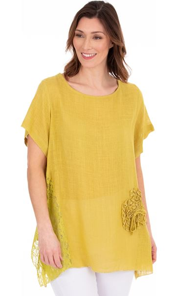 Linen Blend Short Sleeve Dip Hem Top Olive/Golden Olive - Gallery Image 2