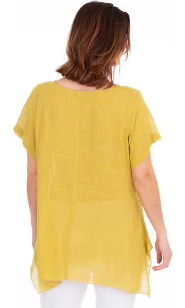 Linen Blend Short Sleeve Dip Hem Top Olive/Golden Olive - Gallery Image 3