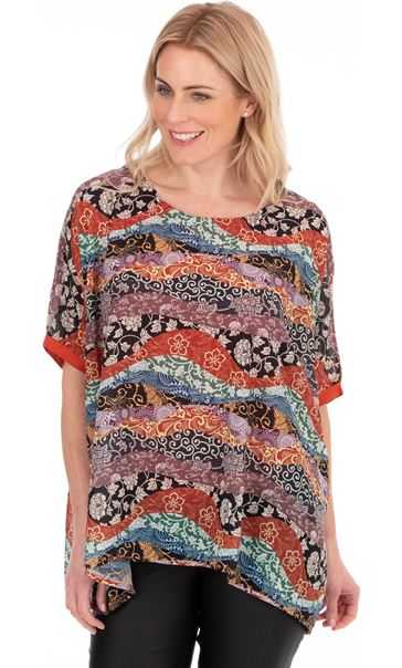 Printed Short Sleeve Top Multi/Black/Rust