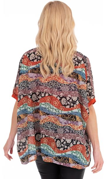 Printed Short Sleeve Top Multi/Black/Rust - Gallery Image 2