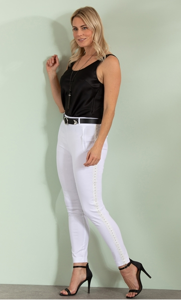 Embellished Slim Leg Stretch Trousers - Ivory