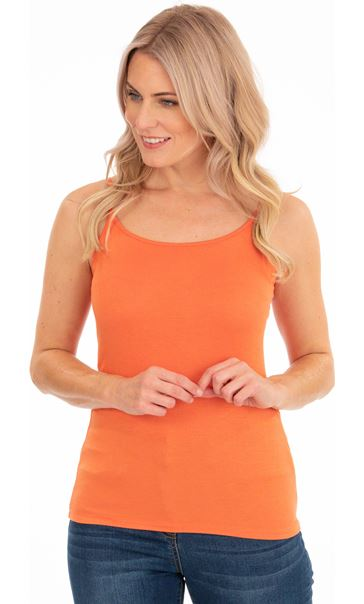 Adjustable Strappy Jersey Cami Top Orange