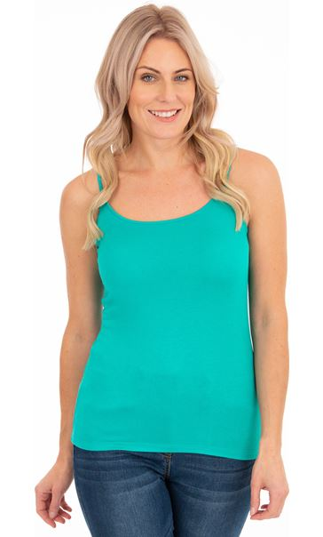 Adjustable Strappy Jersey Cami Top Green