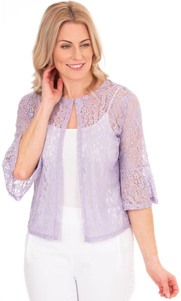Three Quarter Sleeve Lace Cover Up Ivory