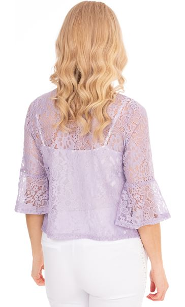 Three Quarter Sleeve Lace Cover Up Ivory - Gallery Image 2