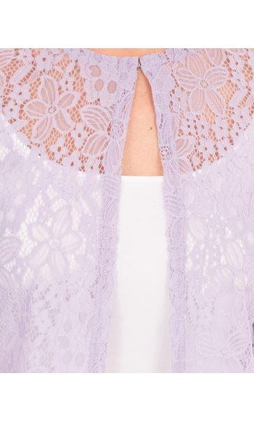 Three Quarter Sleeve Lace Cover Up Ivory - Gallery Image 3