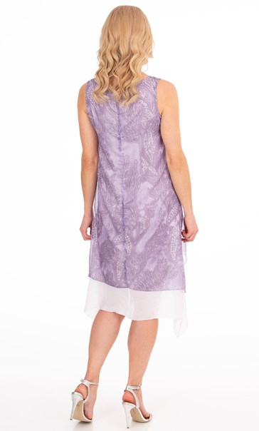Sleeveless Printed Chiffon Layer Dress - Lilac