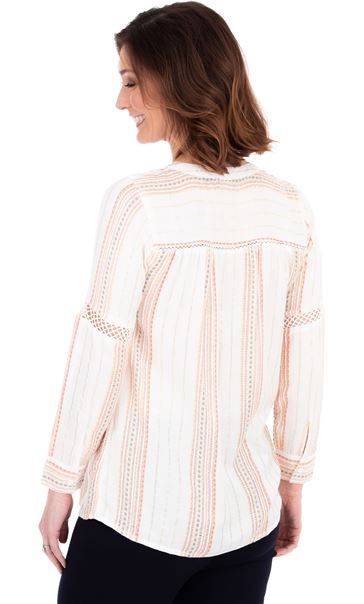 Metallic Stripe Long Sleeve Boho Top