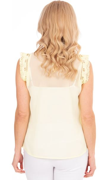 Lace Trim Sleeveless Chiffon Top - Soft Lemon