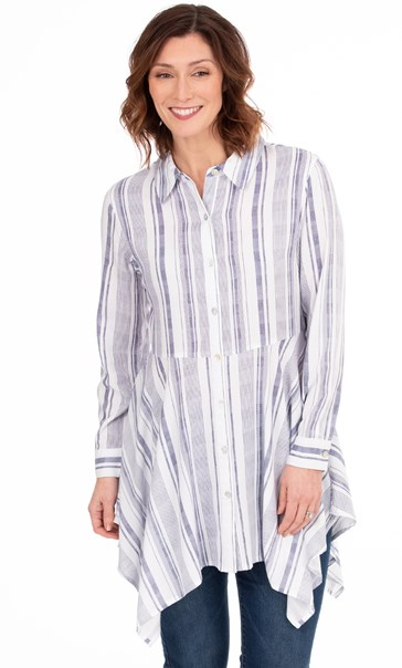 Striped Dipped Hem Shirt Blue/White - Gallery Image 1
