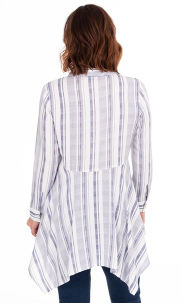 Striped Dipped Hem Shirt Blue/White - Gallery Image 2