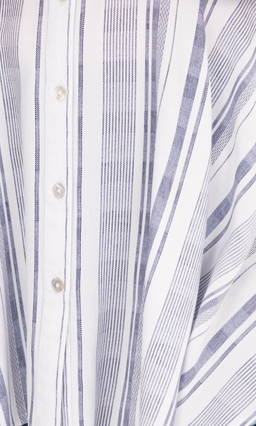 Striped Dipped Hem Shirt Blue/White - Gallery Image 3