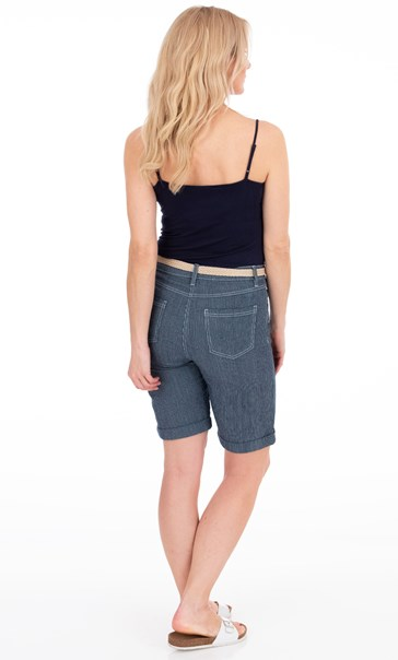 Striped Belted Stretch Shorts Blue - Gallery Image 3