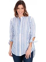Striped Dip Hem Cotton Top
